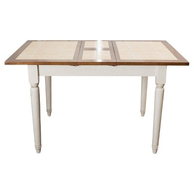 Clearwater Tile Dining Table W/ Leaf Extension Beige/White   Christopher  Knight Home
