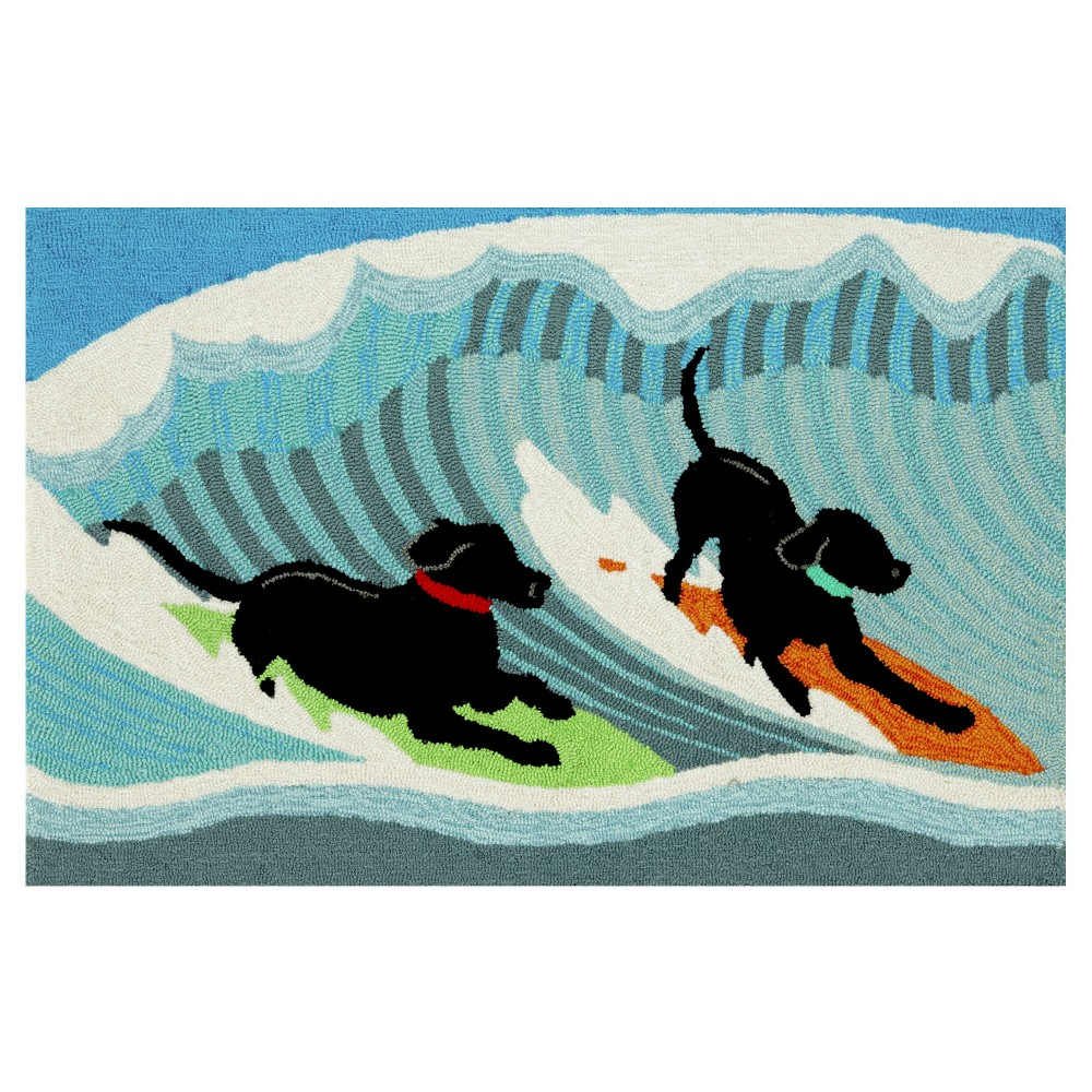 Frontporch Indoor/Outdoor Surfing Dogs Ocean Rug 20