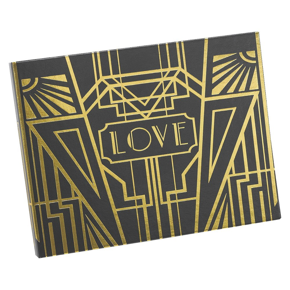 Image of Love Art Deco Wedding Guest Book - Black/Gold