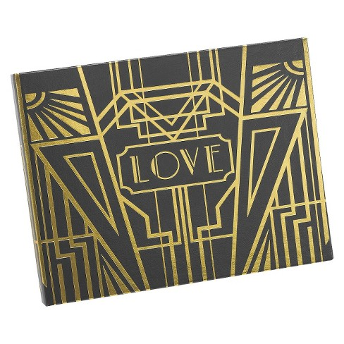 Love Art Deco Wedding Guest Book - Black/Gold - image 1 of 2