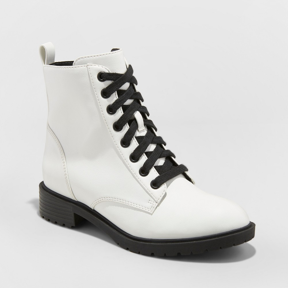 Women's Remi Wide Width Combat Boots - Universal Thread White 8W, Size: 8 Wide