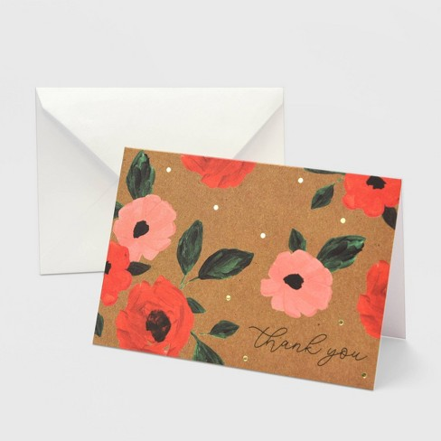 50ct Kraft Thank You Pink & Red Peony Card - image 1 of 3