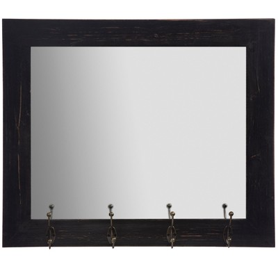 22 x26  Entryway Wall Mount Mirror with Hooks Black - Gallery Solutions