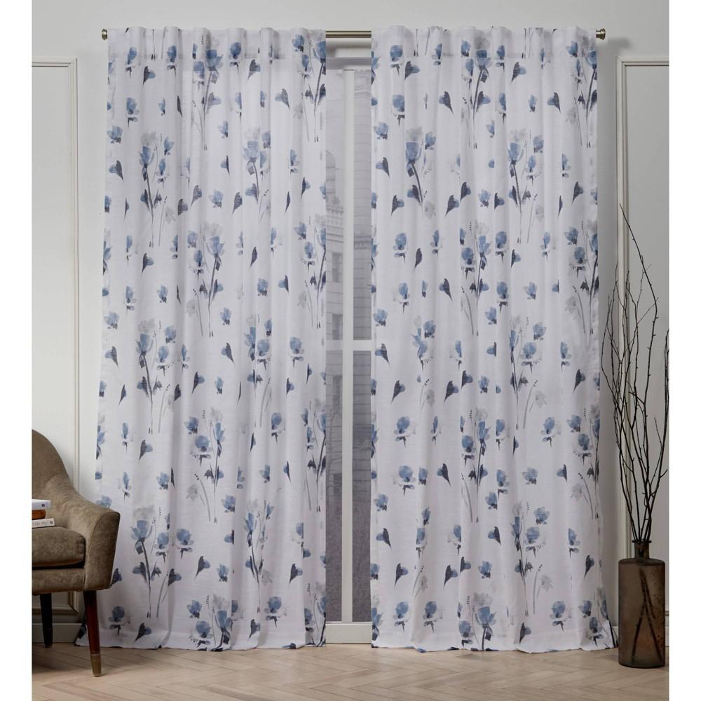 "Image of ""50""""x108"""" La Petite Fleur Back Tab Light Filtering Window Curtain Panels Indigo - Nicole Miller, Blue"""
