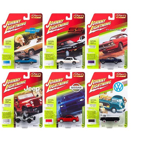 Classic Gold 2018 Release 1 Set B of 6 1/64 Diecast Model Cars by Johnny Lightning - image 1 of 2