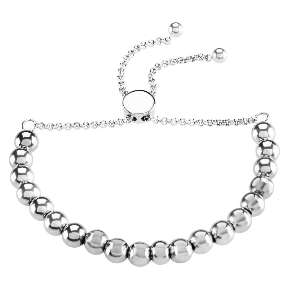 Image of ELYA Adjustable Pull String Beaded Bracelet - Silver, Women's