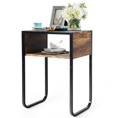 Costway Side Table Industrial Coffee Table w/Metal Frame Rustic End Table Nightstand