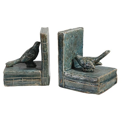 Blue/Green Decorative Bird Bookend Set - A&B Home