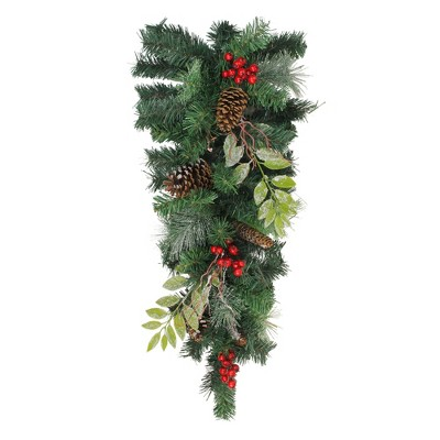"""Northlight 32"""" Pre-Decorated Frosted Pinecone Berries Artificial Christmas Teardrop Swag - Unlit"""