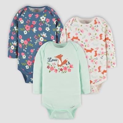 Gerber Baby Girls' 3pk Fox Long Sleeve Onesies - Off-White/Blue/Green
