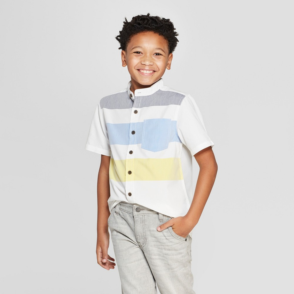 Boys' Mandarin Collar Short Sleeve Button-Down Shirt - Cat & Jack White XS
