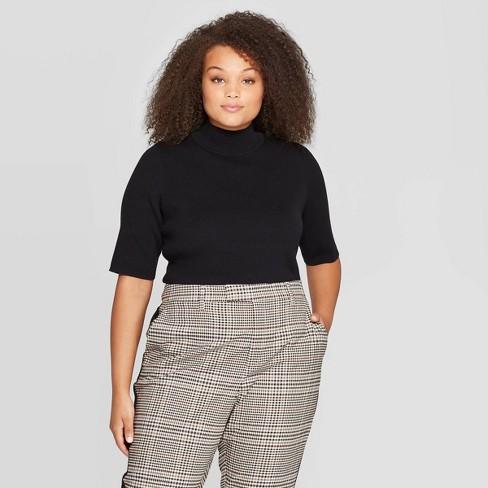 Women\'s Plus Size Elbow Sleeve Mock Turtleneck Pullover Sweater - Who What  Wear™ Black