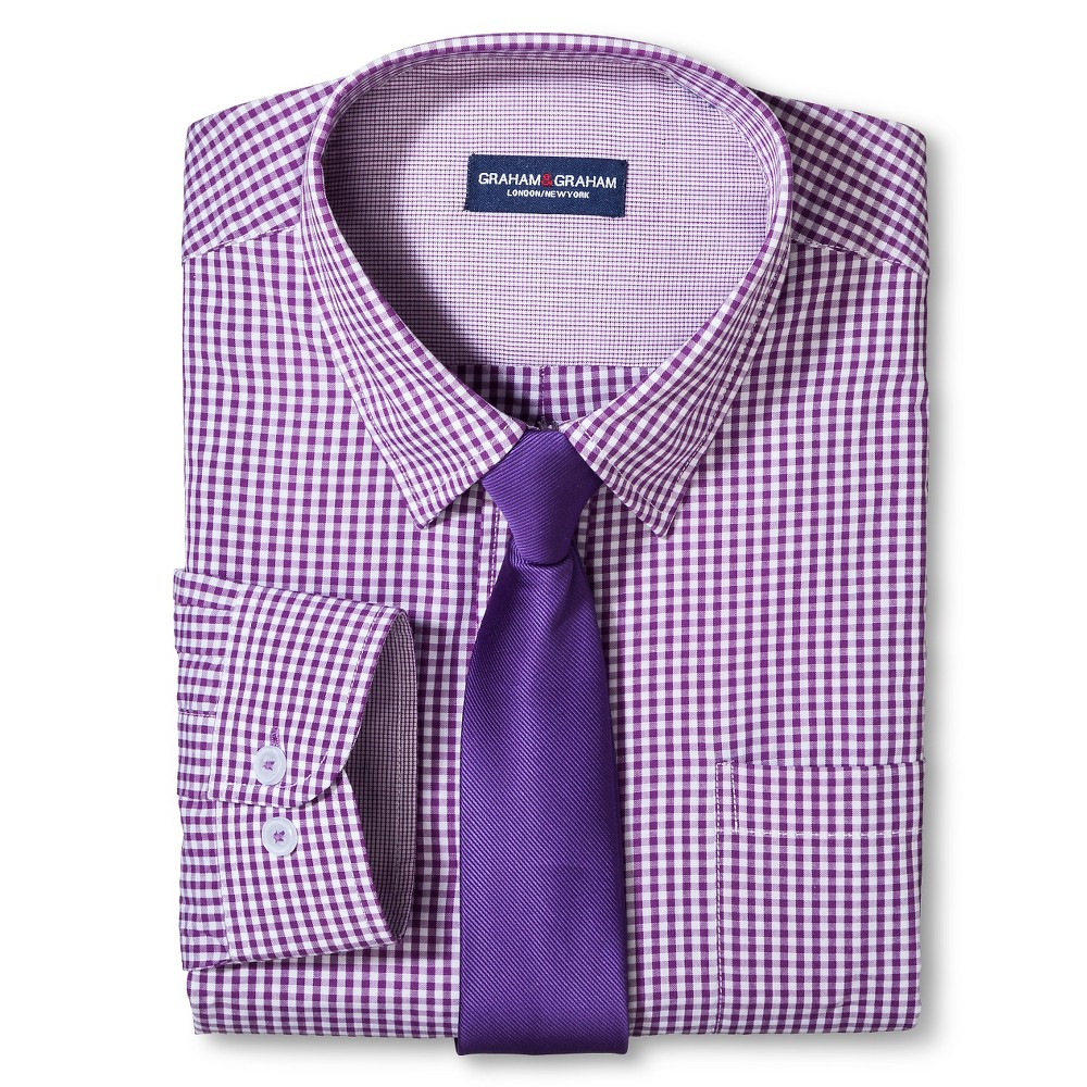 Graham & Graham Boys' Shirt/Tie Set - Purple 16, Medium Purple