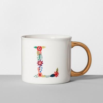 Monogrammed Porcelain Floral Mug L 16oz White/Gold - Opalhouse™