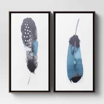 "(Set of 2)12"" x 24"" Feather Stack Framed Canvas - Threshold™"