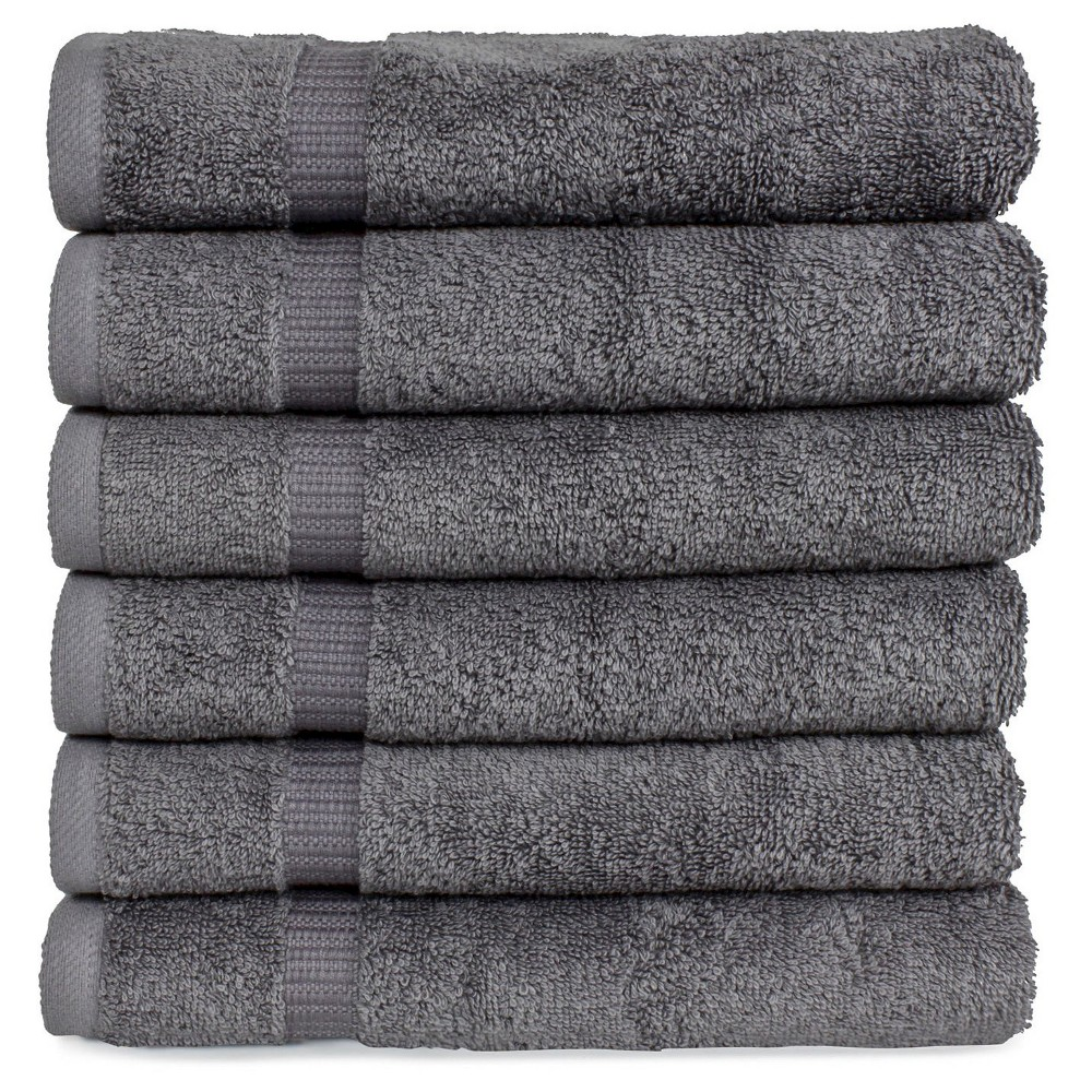 Image of 6pc Villa Hand Towel Set Gray - Royal Turkish Towel