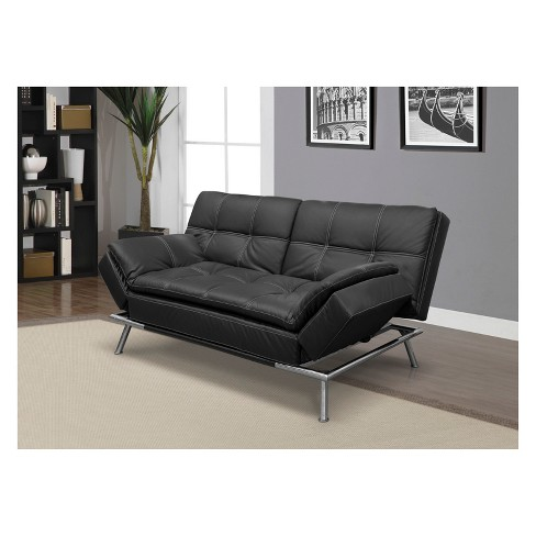 Morgan Bonded Leather Double Cushion Convertible Sofa In Black With Tan Sching Serta Target