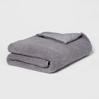 "50"" x 70"" 15lbs Sherpa Weighted Blanket with Removable Cover Gray - Room Essentials™"