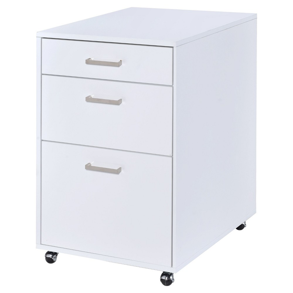 Image of 3 Drawer File Cabinet White Chrome - Acme Furniture, White Silver