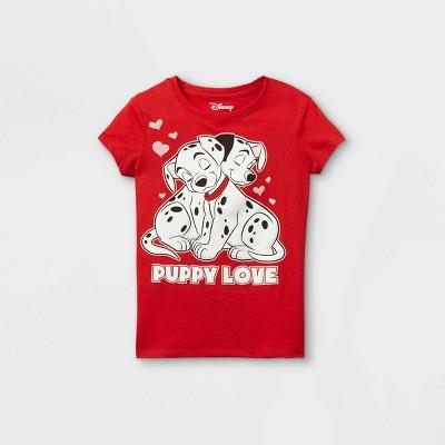 Girls' Disney 101 Dalmatians 'Puppy Love' Short Sleeve T-Shirt - Red