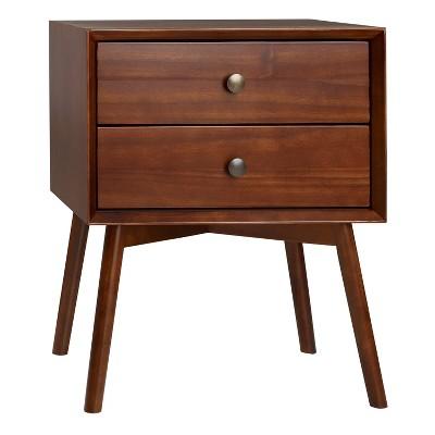 Mid Century 2 Drawer Solid Wood Nightstand Walnut - Saracina Home