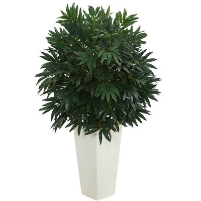 """37"""" x 22"""" Artificial Double Bamboo Palm in White Tower Vase - Nearly Natural"""