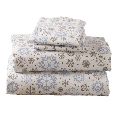 Home Fashion Designs 100 Cotton Printed Flannel Sheet Set Queen Snowflakes Target