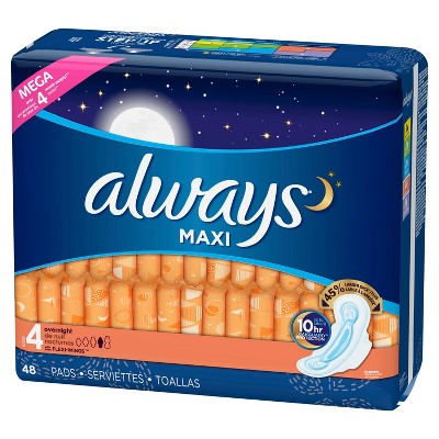 Always Maxi Overnight Pads - Size 4 - 48ct