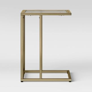 Greenwich Square Glass Top C Table with Brass Base - Threshold™