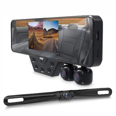 Pyle PLCMDVR54 Dash Cam Rearview Mirror Backup Camera Car Video Recording System with 1080P and Built in LED Night Vision Lights