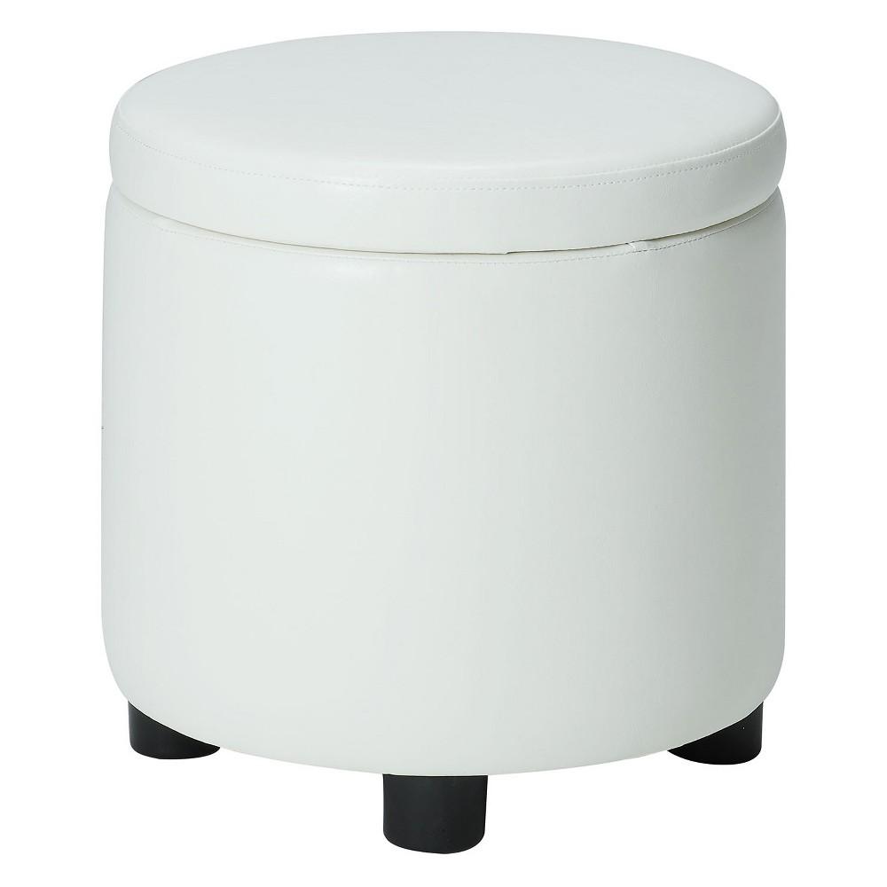 Johar Furniture Designs4Comfort Round Accent Storage Ottoman White