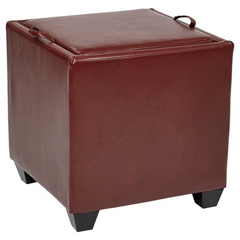 Eco Leather Storage Ottoman With Tray Crimson Red Office Star