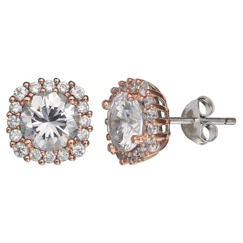 37806d77b Women's Stud Earrings with Clear Cubic Zirconia in Sterling Silver with  Rose Gold - Silver/Rose (10mm)