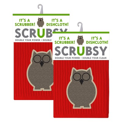 2 in 1 Dishcloth with Scrubber Set of 2 - Mu Kitchen