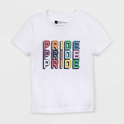Pride Gender Inclusive Toddler's 'Pride Pride Pride' Short Sleeve Graphic T-Shirt - White