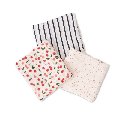 Red Rover Cotton Muslin Swaddle - Cherries 3pk