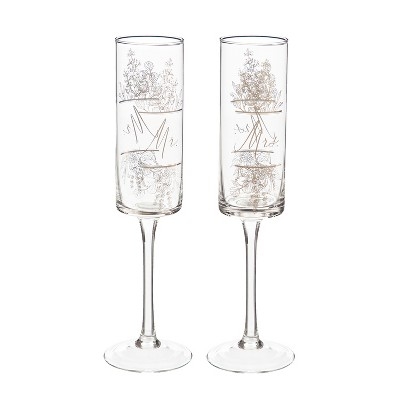 Cypress Home Mr. & Mrs. Champagne Flutes, 8 Oz., Silver Metallic, Set Of 2