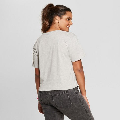5113da0c6ce Women s Plus Size Short Sleeve After Sunset Cropped Graphic T-Shirt - Mighty  Fine (Juniors ) Heather Gray   Target