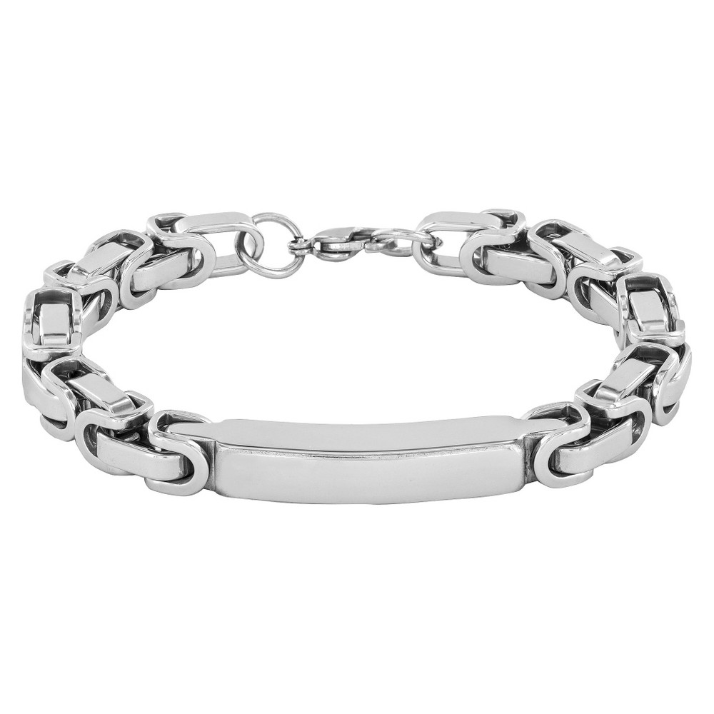 Image of Crucible Men's High Polish Stainless Steel Byzantine ID Bracelet, Size: Small, Silver/Silver