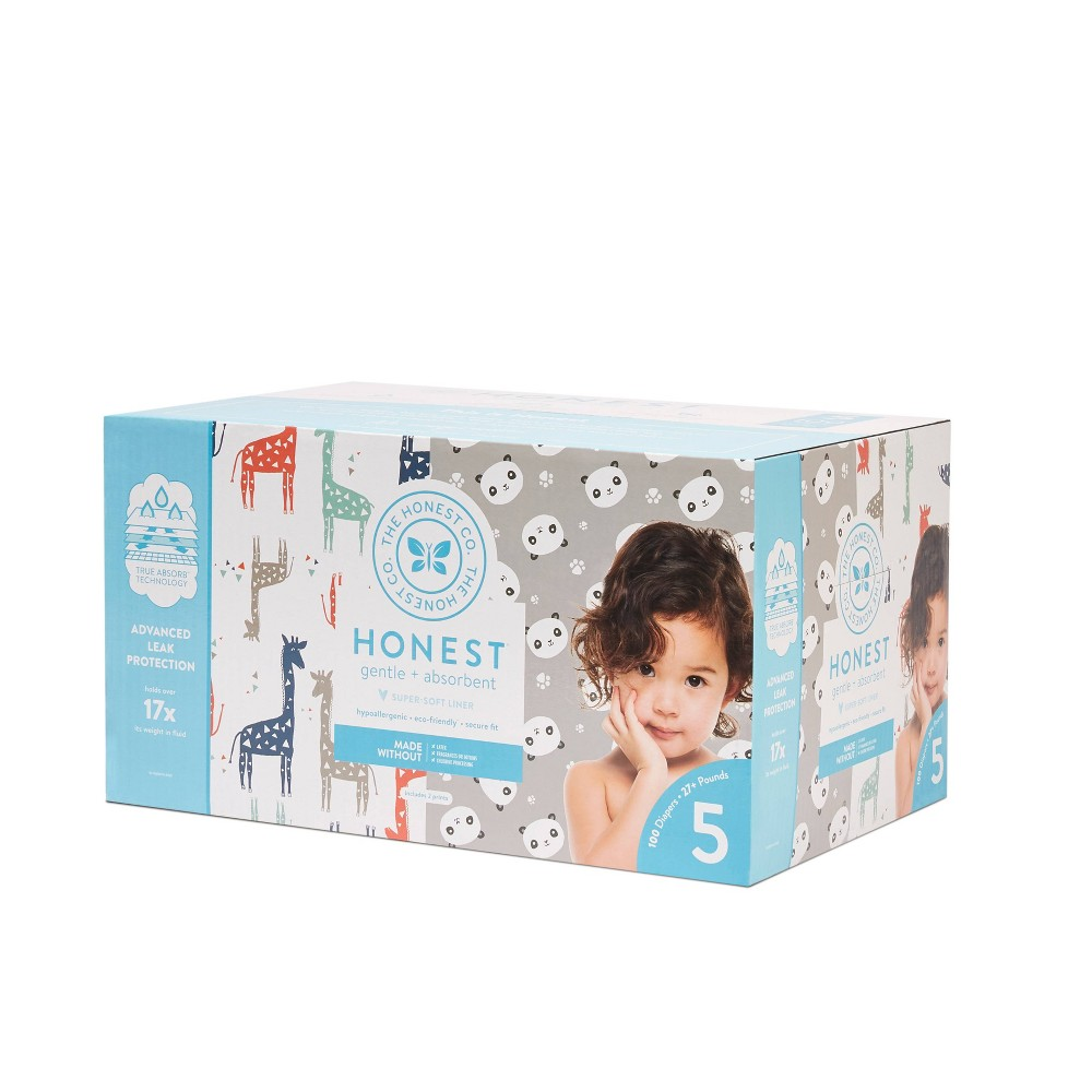 Honest Company Disposable Diapers Club Pack Giraffes & Pandas - Size 5 (100ct), Multi-Colored