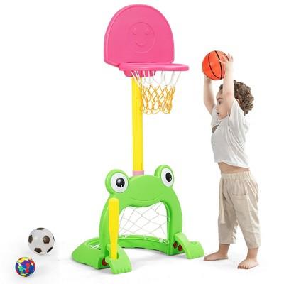Costway 3-in-1 Kids Basketball Hoop Set Adjustable Sports Activity Center w/Balls