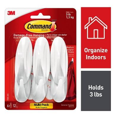 Command Medium Sized Designer Hooks Value Pack (6 Hooks 12 Strips)White