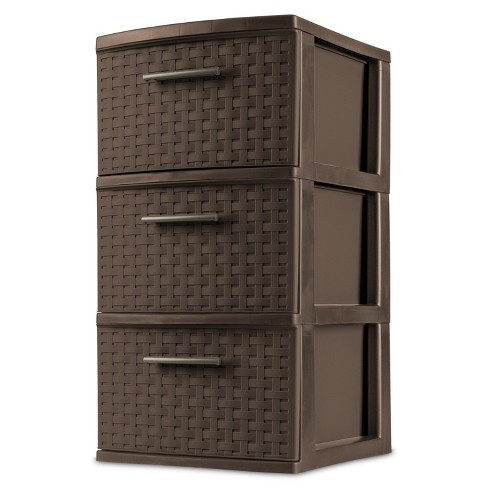 Sterilite 3 Drawer Medium Weave Tower Brown - image 1 of 4