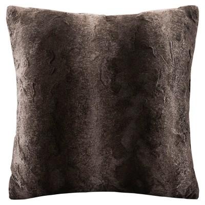 "20""x20"" Zuri Faux Fur Square Throw Pillow Brown"
