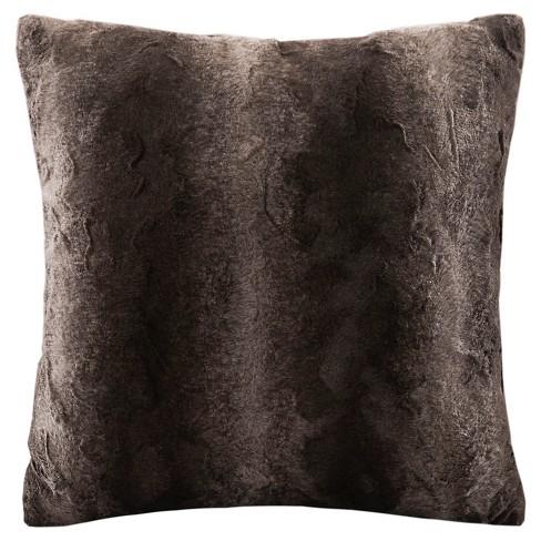 "20""x20"" Zuri Faux Fur Square Throw Pillow Brown - image 1 of 4"