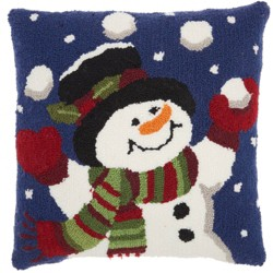 The Holiday Juggling Snowman Square Throw Pillow Blue - Mina Victory