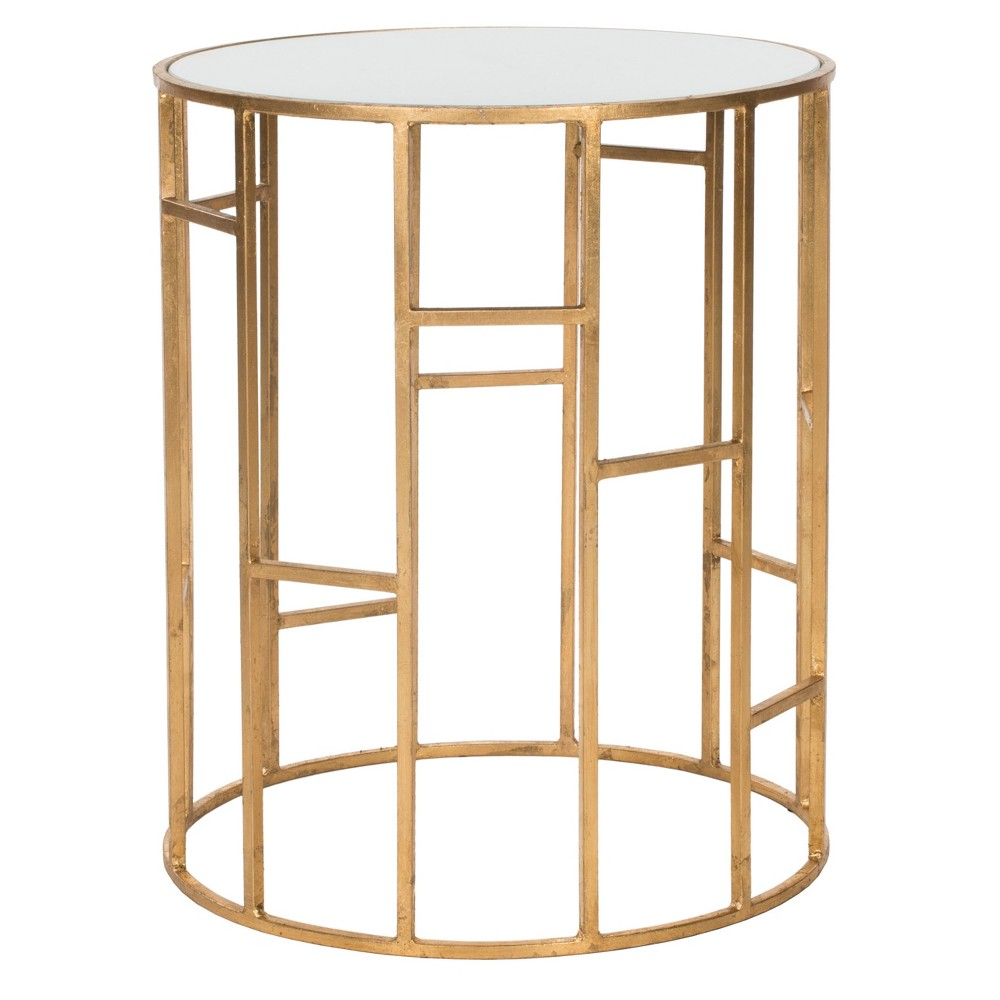 Doreen End Table - Safavieh, Gold/Glass