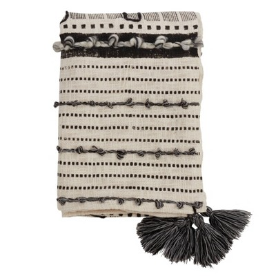 """48""""x72"""" Cotton Throw Blanket with Block Print and Embroidered Design Ivory - SARO"""