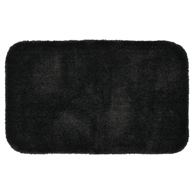 Garland Finest Luxury Ultra Plush Washable Nylon Bath Rug - Black (24 x40 )