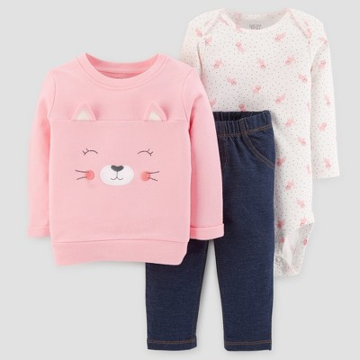 Baby Girls' 3pc Cotton Kitten Set - Just One You™ Made by Carter's® Pink 6M